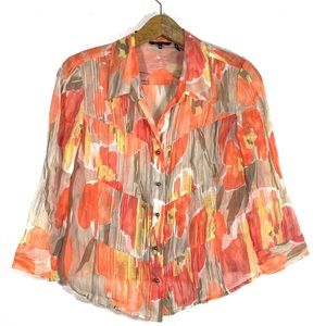 Nic + Zoe Orange Floral Button Up Sheer Blouse